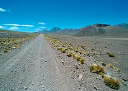 Chile, Antofagasta, gravel road through arid landscape, mountains in background