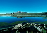 Chile, El Norte Grande, lakescape with mountain in distance