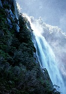 New Zealand, waterfall over cliff
