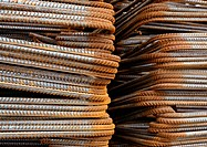Stacks of metal rods, close-up