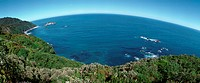 New Zealand, sea viewed from the coast, panoramic view