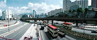 Hong-Kong, freeway, skyline in background, elevated view, panoramic view
