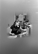 Woman telephoning, blurred, b&w