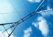 Pylon and electric wires, low angle view
