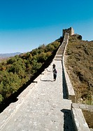 China, Hebei Province, Simatai, two people walking on the Great Wall