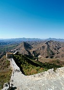 China, Hebei Province, Simatai, people walking on the Great Wall, high angle view