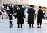 Israel, Jerusalem, Bar Mitzvah, rear view, blurred