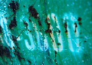 '3000' text on rusty surface, close-up