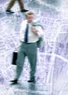 Businessman walking on city map, montage