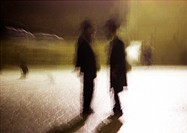 Israel, Jerusalem, two men conversing, blurred