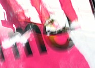 'Me' type, blurry, red overlaying abstract imagery, montage