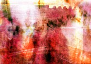 Abstract typography, oranges and reds, montage