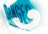 'Danger' typography in blues, montage