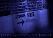 'Detour and Exit' typography stenciled on wall, montage