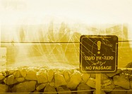 'No passage' sign near rocks, montage