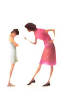 Silhouette of mother scolding daughter, on white background, defocused