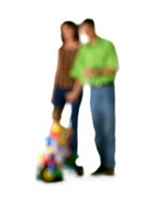 Silhouette of parents and child, on white background, defocused