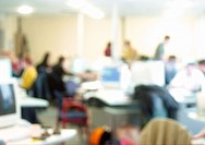 People in office, blurred