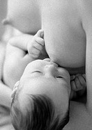 Infant breastfeeding, b&w