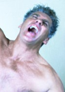 Mature man screaming, close-up, portrait