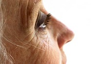 Senior woman's face, partial view, extreme close-up