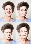 Senior woman, four portraits