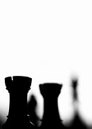 Chess pieces, close-up, b&amp;w