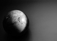 World globe, close-up, b&amp;w