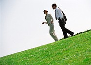Businessman and woman walking on grass