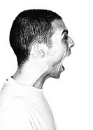 Man, mouth wide open, side view, portrait, b&w