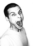 Man, mouth wide open, portrait, b&w (thumbnail)
