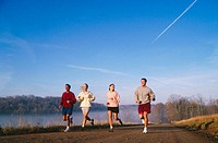 four friends jogging
