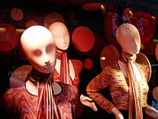Mannequins at store window