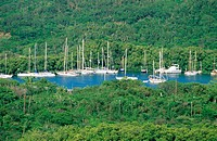 Sailboats. English harbour. Antigua. West Indies. Caribbean