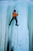 Ice climbing near Prince George. British Columbia. Canada