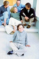 Boy with parents and grandparents