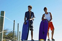 Men with boogie boards