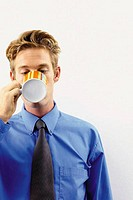 Businessman drinking a cup of tea