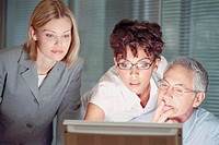 Businesspeople looking at computer screen