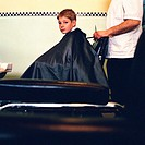 Boy at barbers