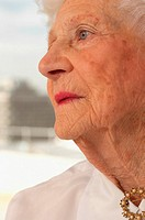 Profile of elderly woman
