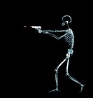 X Ray Showing a Human Skeleton Shooting a Pistol
