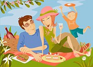Family Enjoying a Picnic in the Countryside