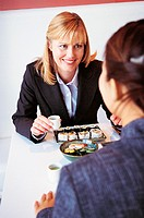 Businesswomen Dining in a Japanese Restaurant
