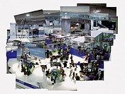 Multiple Image Composite of An Elevated View of Stalls at a Business Exhibition