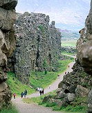 Almannagja rift (between the continental plates of Europe and America). Pingvellir National Park. Iceland