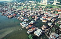 Aerial view of Kota Kinabalu waterfront, Sabah, Malaysia