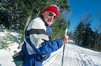 Elder man cross-country skiing. Lancaster. New Hampshire. USA