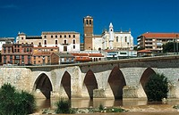 Medieval bridge over Duero river. Tordesillas. Valladolid province. Castilla y Leon. Spain