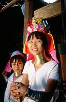 Woman and daughter. Padaung Hilltribe. Mae Hong Son. Thailand